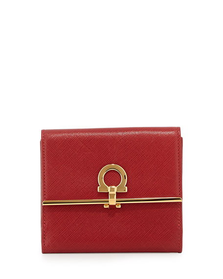 Salvatore Ferragamo Icona French Wallet, Rosso