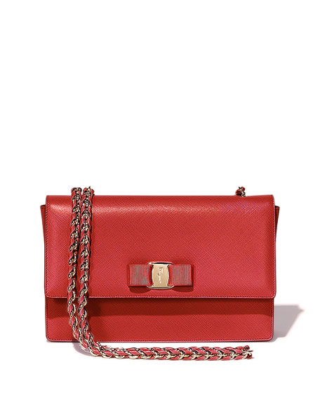 Salvatore Ferragamo Ginny Vara Medium Crossbody Bag, Rosso