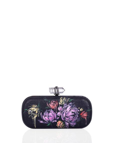 Lily Floral-Print Lizard Clutch Bag