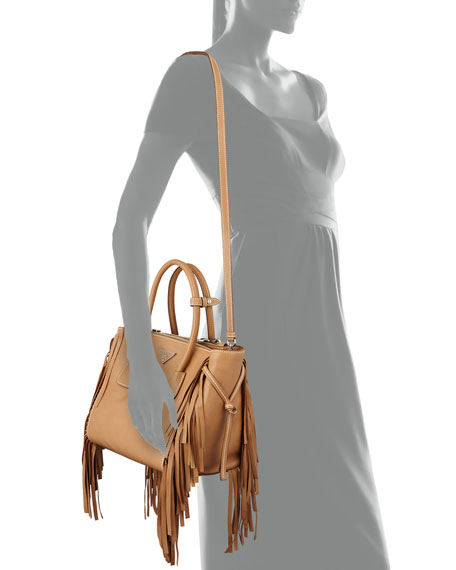 Prada Fringe Twin Pocket Tote Bag, Caramel (Caramel)