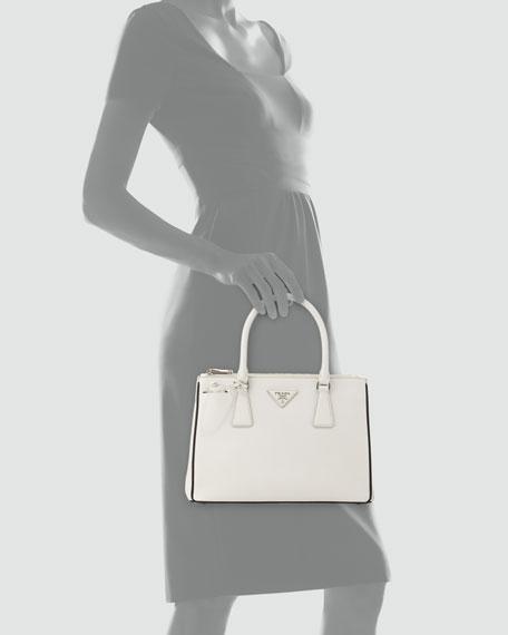 Saffiano Lux Double-Zip Tote Bag, White/Black (Talco+Nero)