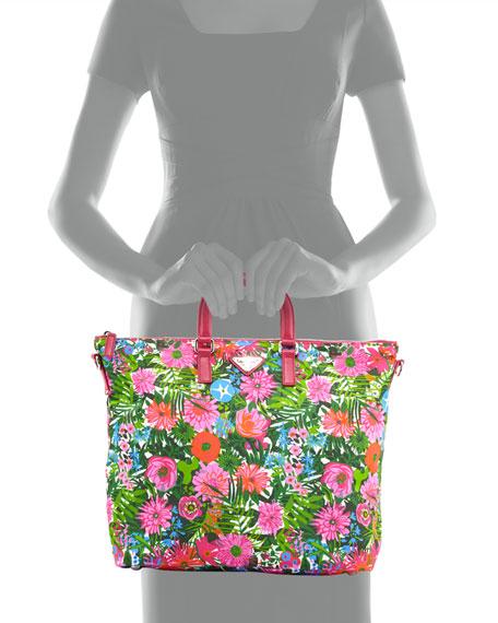 515334ecb2fd Prada Floral-Print Nylon Tote Bag, Pink Floral (Pink Dis Primule)