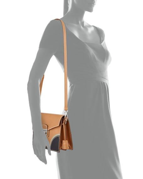 prada tessuto saffiano tote - Prada Vachetta Bicolor Shoulder Bag, Natural/Black (Naturale+Nero)
