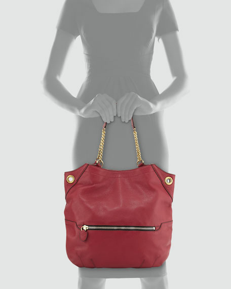 Image 3 of 3: Selina Chain Shoulder Bag, Burgundy