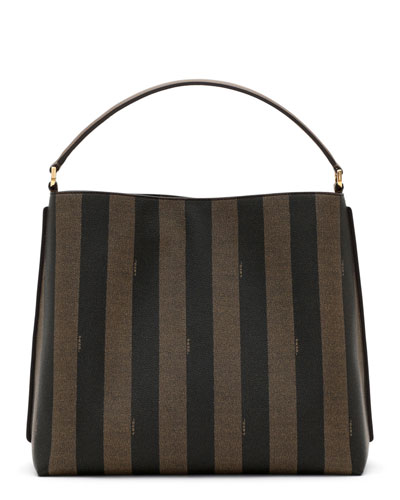 Pequin-Striped Large Canvas Hobo Bag, Tobacco Brown