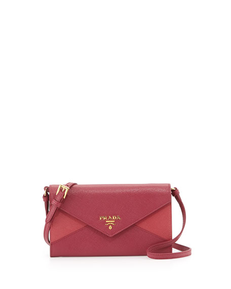Prada Saffiano Wallet-On-a-Strap, Pink/Dark Pink (Peonia+Ibisco)