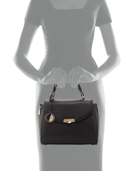 Leather Top-Handle Satchel Bag, Black