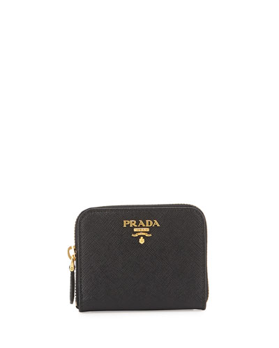 Saffiano Mini Leather Wallet, Black (Nero)