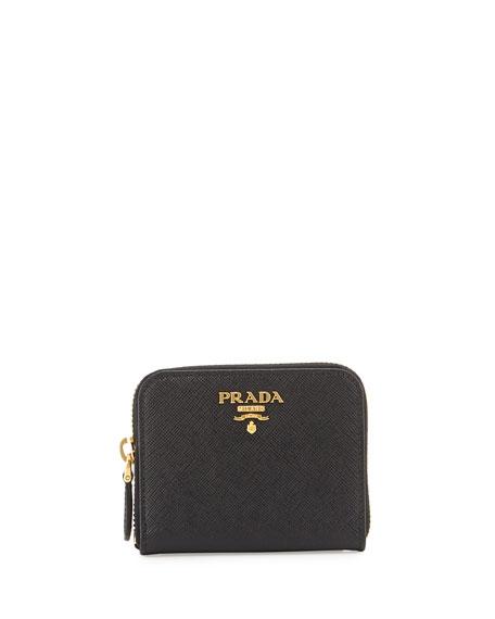 Saffiano Mini Leather Wallet, Black (Nero)