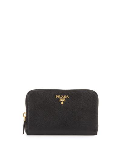 Saffiano Leather French Wallet, Black (Nero)