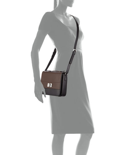 Half-Flap Small Turn-Lock Crossbody Bag, Black/Brown (Nero/Cocoa)