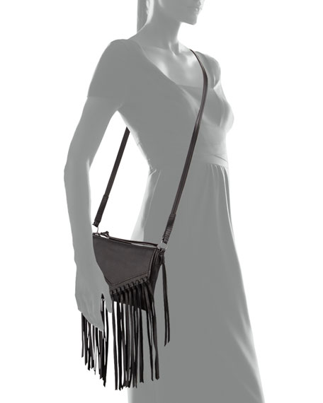 Sparrow Fringe Leather Crossbody, Black