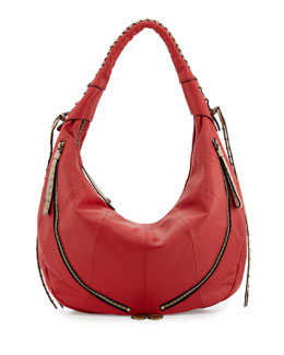 Jasmine Zip Hobo Bag, Berry