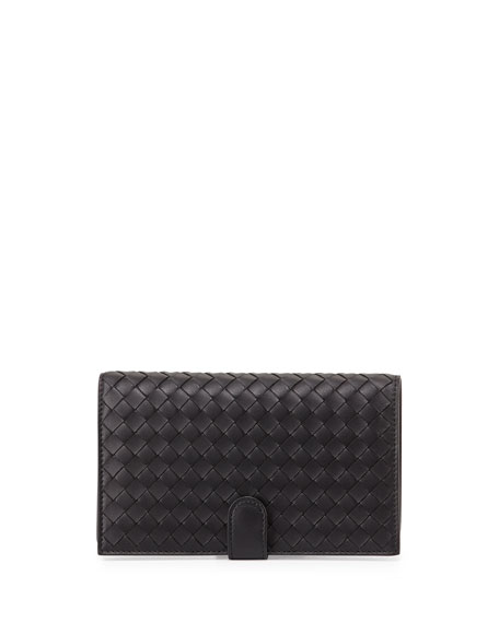 Bottega Veneta Woven Continental Wallet, Black