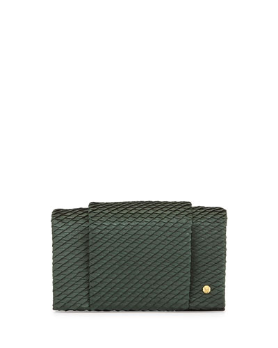 Woven Satin & Leather Wallet-On-A-Chain, Emerald