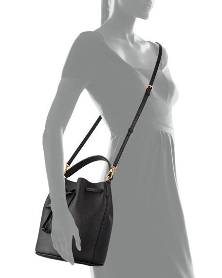 Metropoli Saffiano Bucket Bag, Black