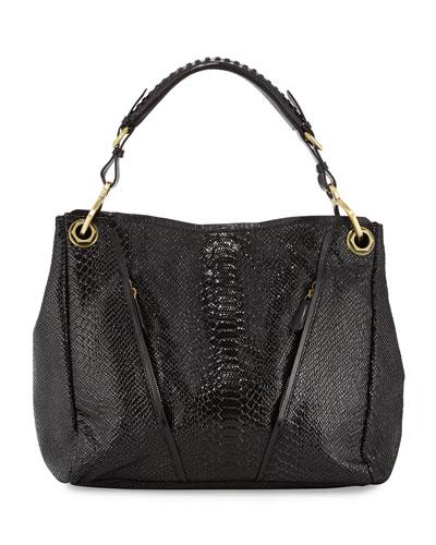 Bette Embossed Leather Shoulder Bag, Black