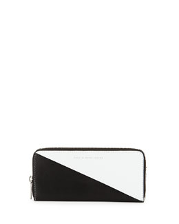 Sophisticato Sliced Slim-Zip Wallet, White/Black