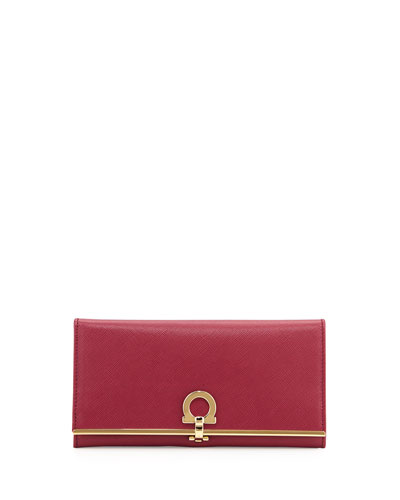 Icona Continental Flap Wallet, Vin (Burgundy)