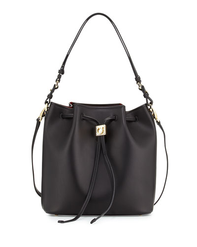 Sansy Lock Story Bucket Bag, Nero