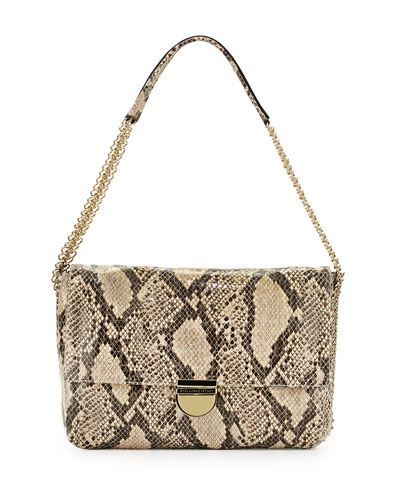 Snake-Print Faux-Leather Shoulder Bag, Nude