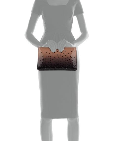 Loubiposh Degrade Spiked Evening Clutch Bag, Black/Nude