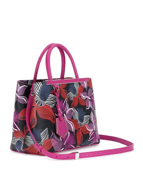 2Jours Petite Leather Orchid-Print Satchel Bag, Magenta