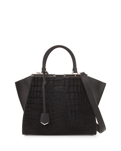 Trois-Jour Petite Croc-Embossed Calf Hair Tote Bag, Black