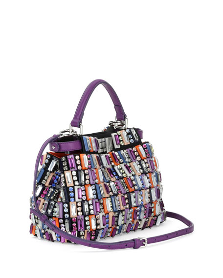 Image 2 of 2: Peekaboo Mini Jeweled Satchel Bag