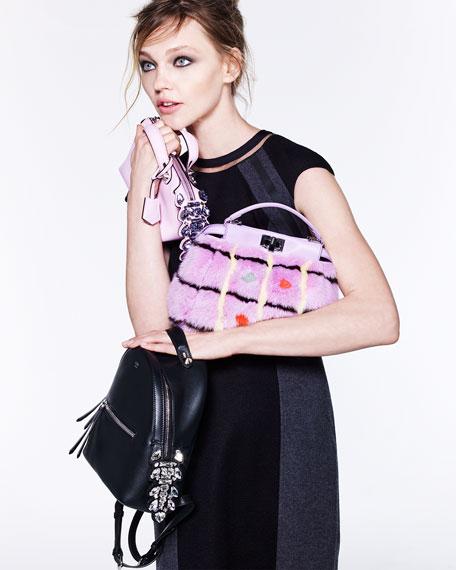 Mini Crystal Croc-Tail Backpack, Black