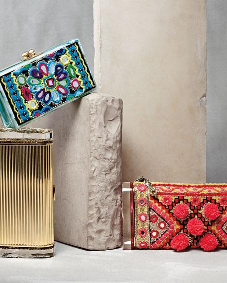 Edie Parker Embroidered Pom-Pom Clutch Bag, Multi
