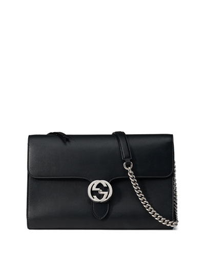 Linea B Medium GG-Clasp Shoulder Bag, Black