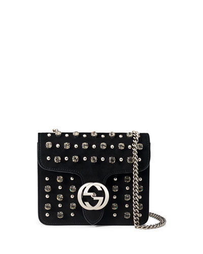 Interlocking Studded Suede Shoulder Bag, Black