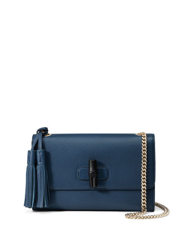 Miss Bamboo Medium Leather Shoulder Bag, Blue