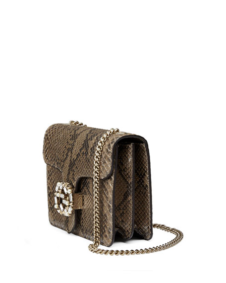 Interlocking Small Python Shoulder Bag, Gray