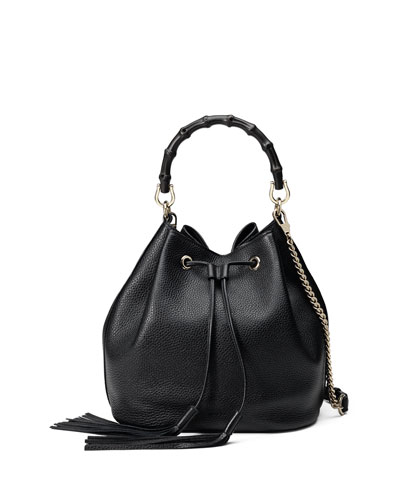 Miss Bamboo Medium Leather Bucket Bag, Black