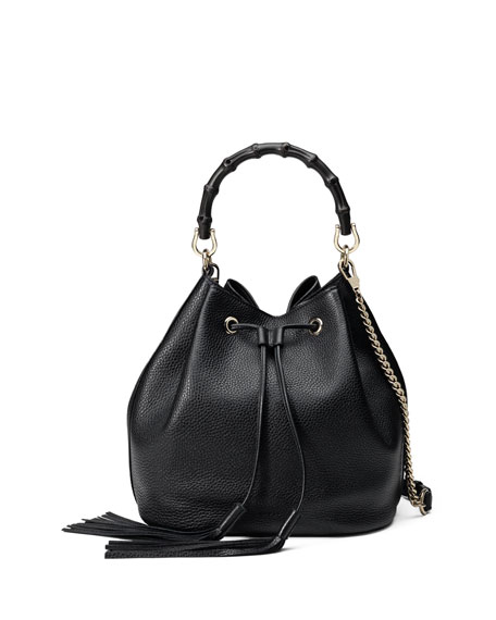 Gucci Miss Bamboo Medium Leather Bucket Bag, Black
