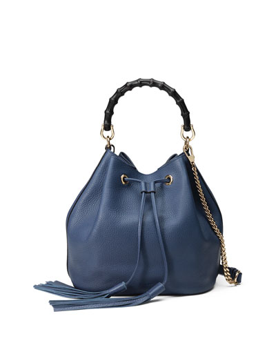 Miss Bamboo Medium Leather Bucket Bag, Blue