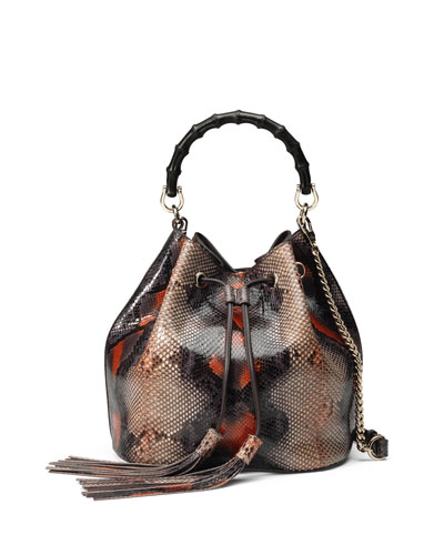 Miss Bamboo Medium Python Bucket Bag, Multi