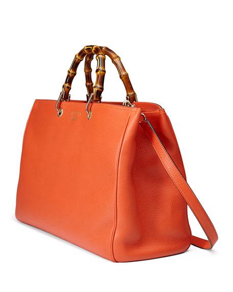 Bamboo Large Shopper Tote Bag, New Dark Orange