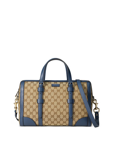 Linea A Medium Canvas Tote Bag, Beige/Blue