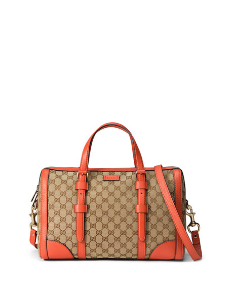 Gucci Linea A Medium Canvas Tote Bag, Beige/Orange