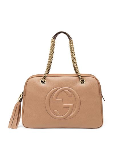 Soho Leather Chain Shoulder Bag, Beige