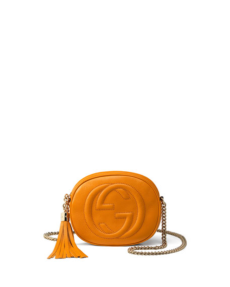 Soho Leather Mini Chain Bag, Yellow
