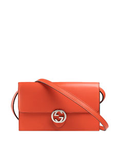 $584 Gucci Icon Wallet w/Strap, Dark Orange