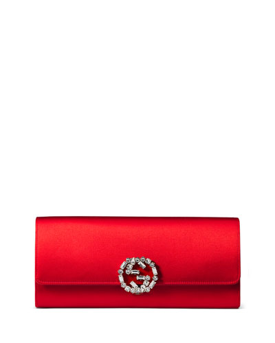 Broadway Satin Evening Clutch Bag, Red