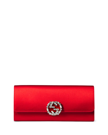 Gucci Broadway Satin Evening Clutch Bag Red | Neiman Marcus