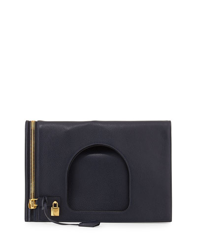 Alix Leather Padlock & Zip Shoulder Bag, Navy
