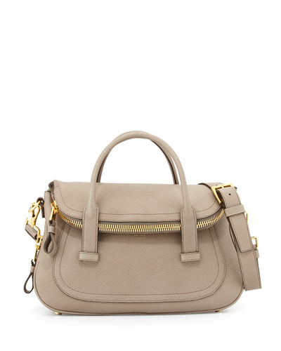 Jennifer Medium Top-Handle Bag, Taupe