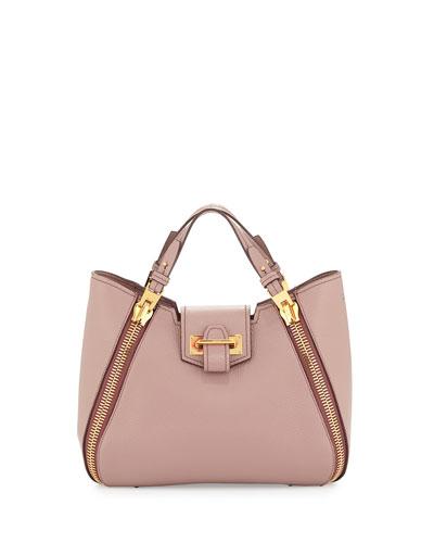 Sedgwick Mini Double-Zip Leather Tote Bag, Blush Nude